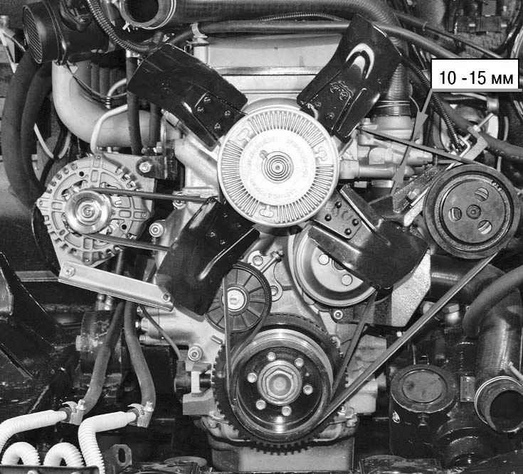 Проверка и регулировка натяжения ремня привода вентилятора и насоса гидроусилителя рулевого управления УАЗ 3163