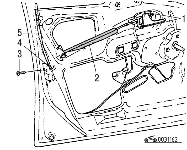 Снятие и установка замка передней двери Volvo S40